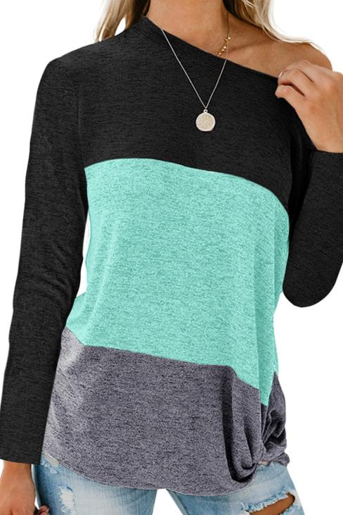Tawni Women's Casual Color Block Crew Neck Loose Top Blue