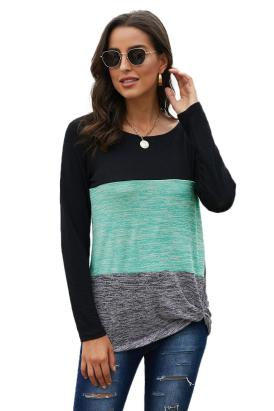 Tawni Women's Casual Color Block Crew Neck Loose Top Blue