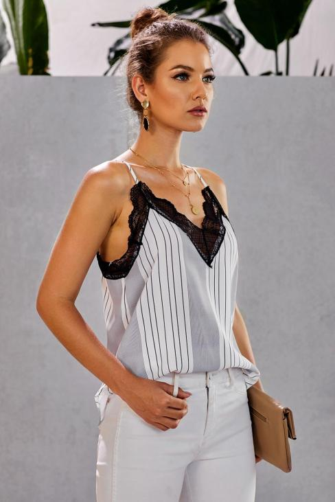 Trudie Women Lace V Neck Strappy Loose Camisole White