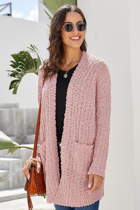 Jaime Women's Long Sleeve Soft Chunky Creamy Knit Sweater with Pockets