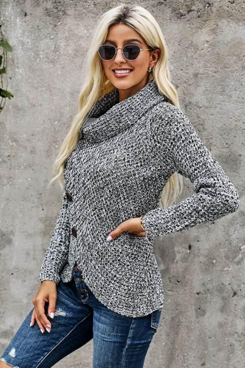 Miranda Womens Casual Turtle Cowl Neck Sweater Coat Heather Gray