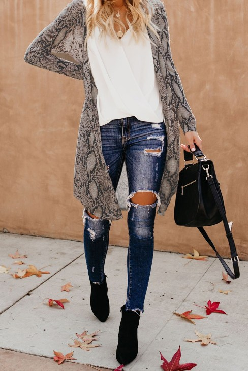 Angelika Womens Snake Print Open Front Long Knited Cardigan Outerwear