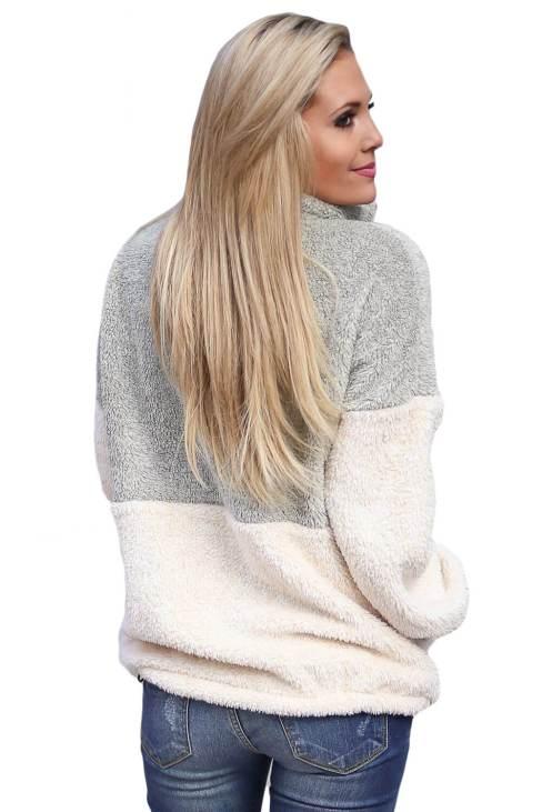 Aleksa Women's Cozy Oversize Fluffy Fleece Sweatshirt Pullover Outwear Grey White