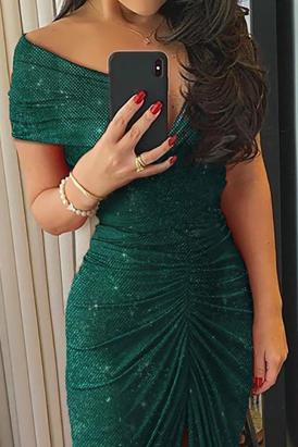 Azera Glitter Off Shoulder Ruched Slit Party Dress Green