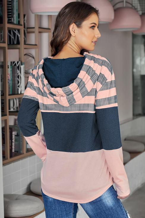 Carys Long Sleeve Knit Color Block Drawstring Hoodie Pink