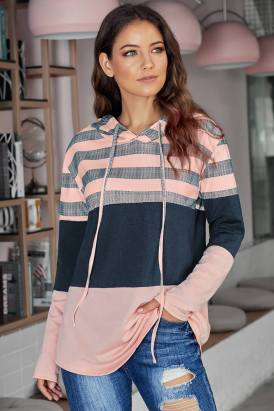 Carys Long Sleeve Knit Color Block Drawstring Hoodie Pink