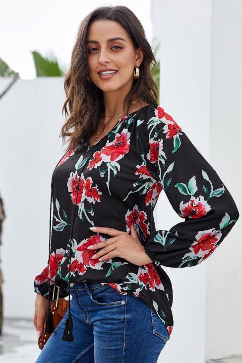 Arli Women's Floral Print Blouse Long Sleeve White