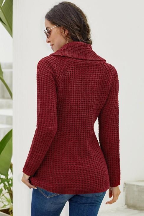 Harley Women's Knit Wrap Asymmetric Hem Sweater Burgundy