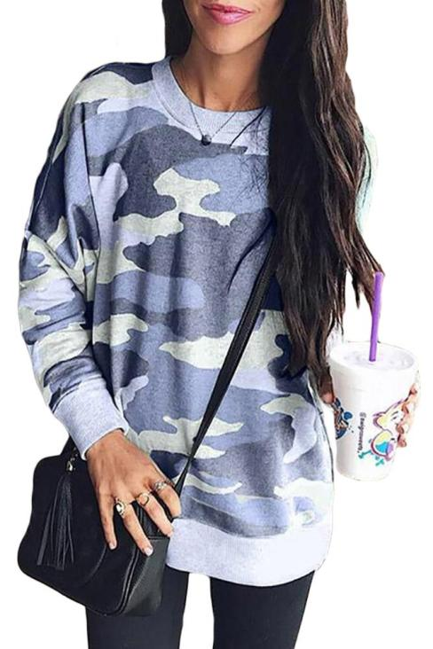 Magda Women's Digital Camo Print Sweatshirt Blue