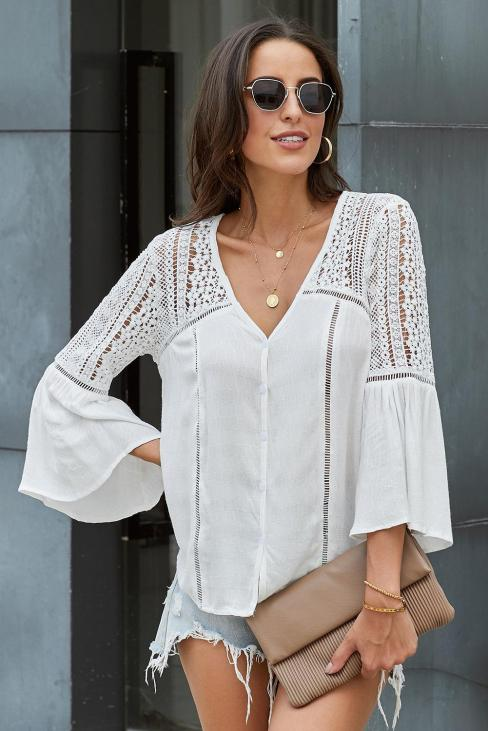 Sammi Women's Flare Sleeve Button Down Shirts White