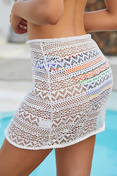 Amal Crochet Sarong Wrap Skirt Summer Beach Cover Up White