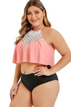 Jonquil Women's Halter Neck Ruffled Top Overlay Plus Size Tankini Set Black