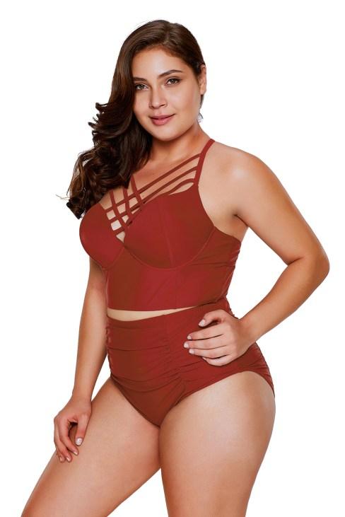 Ariah Women's Strappy Neck High Waist Plus Size Swimsuit Black