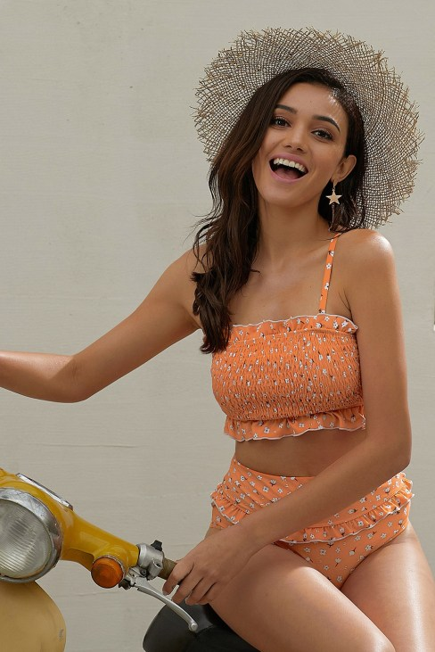 Fleur Women's Shoulder Straps Floral Print Ruffled High Waisted Bikini Swimsuit Orange