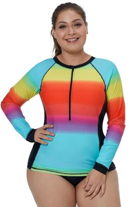 Isadora Women's Zip-Front Multicolor Striped Long Sleeve Tankini Rashguard Top