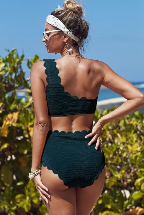Callaway Womens High Waisted Scalloped Trim One Shoulder Bikini Bathing Suit Black
