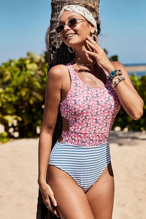 Kari Women's Floral Printed Zipped Racerback One-Piece Swimsuit Pink