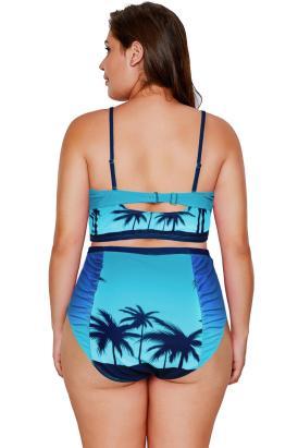 Rochelle Two-Piece Print Strappy High Waist Plus Size Bikini Swimsuit Blue