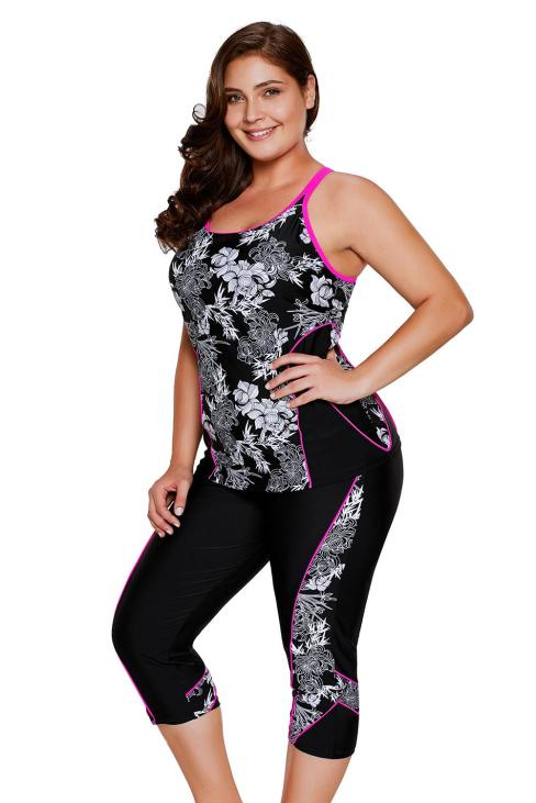 Lucinda Women's Flowery Print Plus Size Tankini and Capris Set Black
