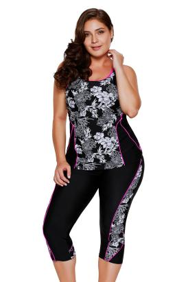 Lucinda Women's Flowery Print Plus Size Tankini and Capris Set Black