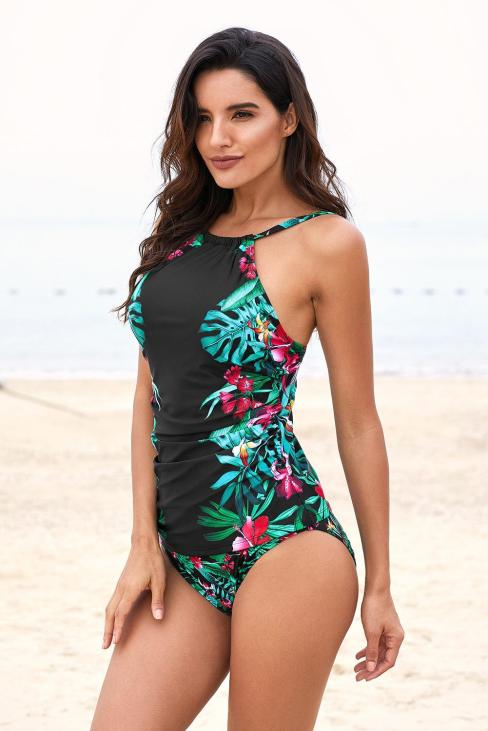 Austen Women's Two Piece Leaf & Flower Printed Ruched Tankini Sets White