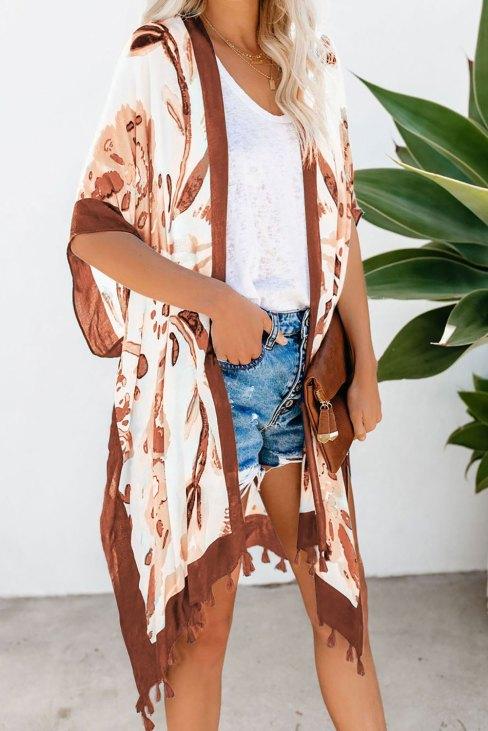 Sacha Bohemian Print Open Front Loose Kimono Beach Cover up Orange