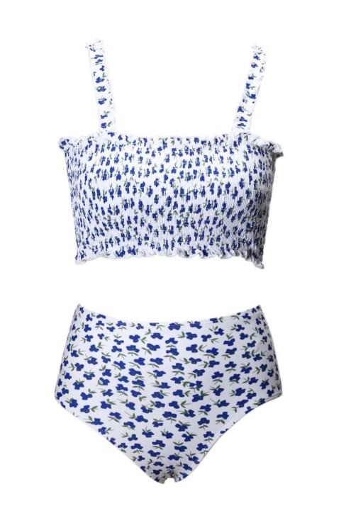 Shira Women's Ruffled Shoulder Straps Flower Bikini Swimsuit White