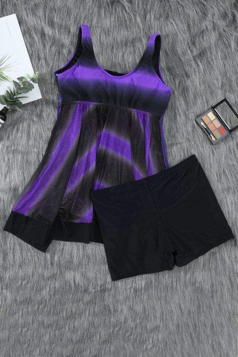 Seea Womens 2pic Tie Swimsuits Tankini Top Set with Boy Shorts Swimdress Purple