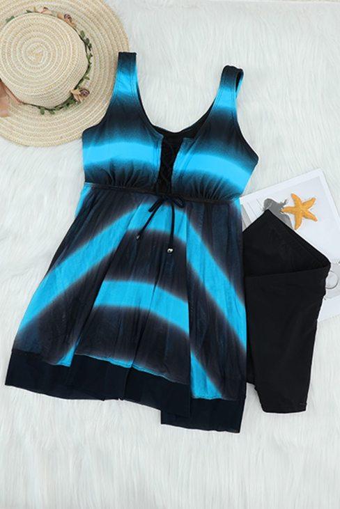 Easton 2pic Tie Swimsuits Tankini Top Set with Boy Shorts Swimdress Sky Blue