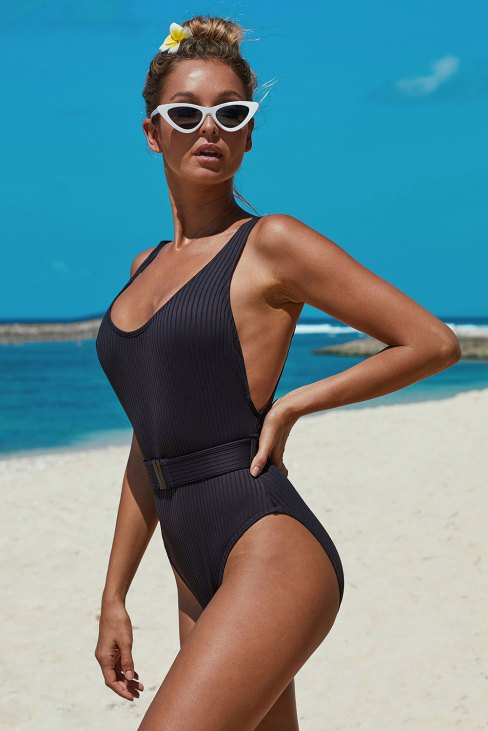 Abby Womens Black One Piece Bathing Suits with Belt
