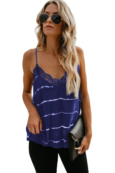 Alder Women Halter Lace Crochet V Neck Strappy Loose Camisole Tank Tops Black