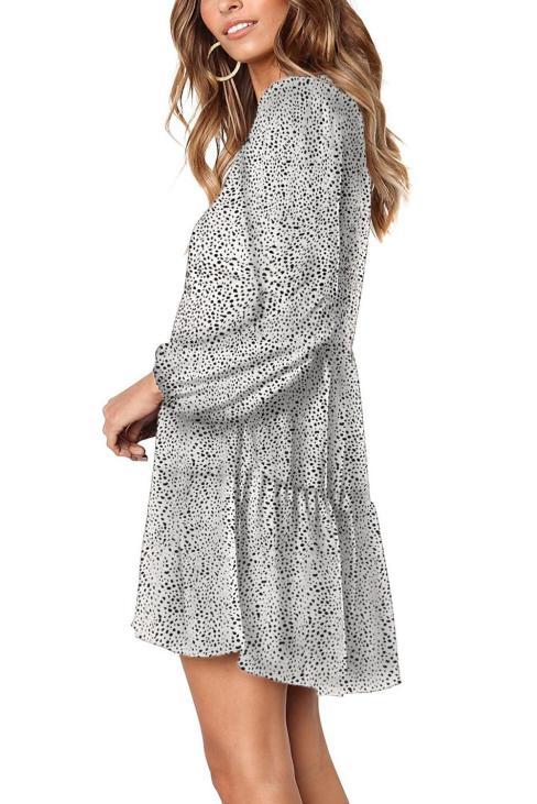 Billie Women's V-Neck Ruffle Long Sleeve Loose Tunic Dress White