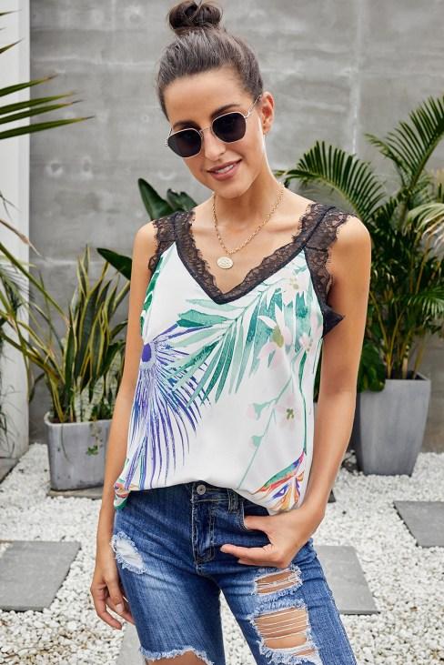 Miranda Women's V-Neck Sleeveless Straps Floral Print Lace Cami Tank Tops White