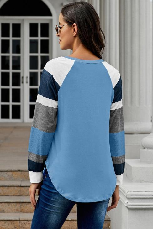 Breanna Round Neck Color Block Long Sleeves Pullover Top Black