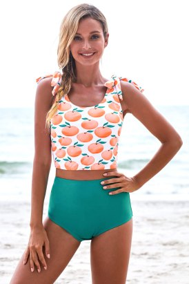 Lani Orange Print Scoop Back Shoulder Tie Tankini Swimsuit