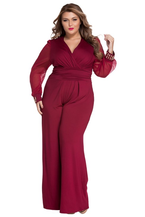 Hamsa Women's Sexy V-Neck Long Mesh Sleeves Jumpsuit Black