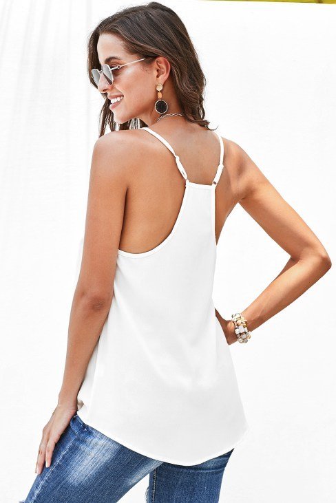 Chatham Sexy V-Neck Sleeveless Straps Sun Tank Top White