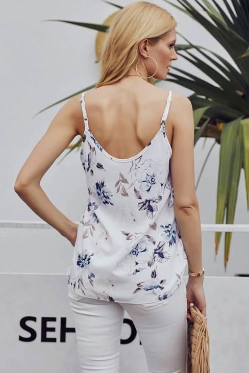 Demeter Women's V Neck Button Down Sleeveless Strappy Cami Tank Tops White