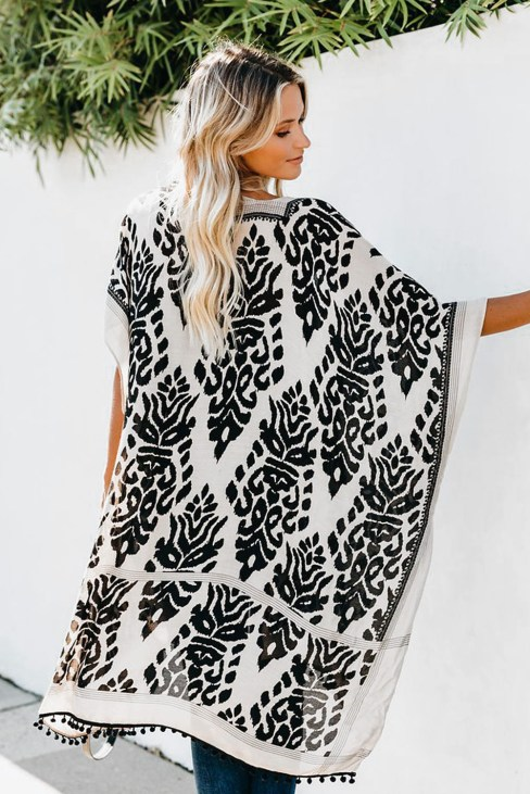 Edith Women Bohemian Print Kimono Loose Beach Cover Up Black