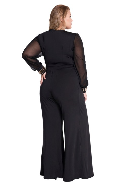 Hamsa Women's Sexy V-Neck Long Mesh Sleeves Jumpsuit Black