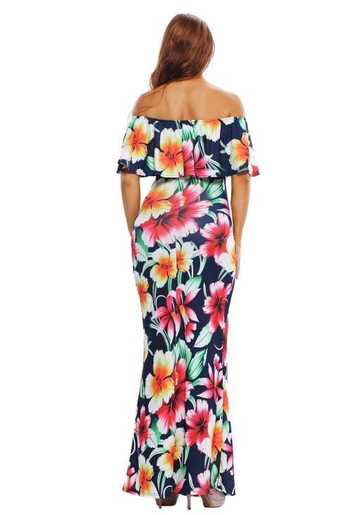 Colleen Women's Tropical Print Off Shoulder Evening Party Maxi Dress