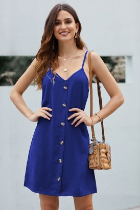 Huxley Women's Casual Buttoned Slip Mini Dress Blue