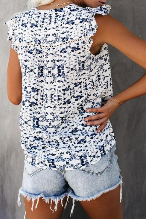 Keely Women's Floral Printed Ruffled Cap Sleeve Split Neck Tank Top White
