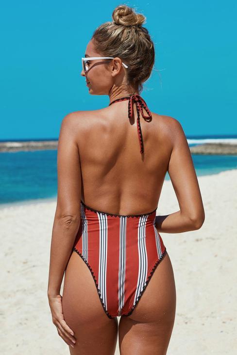Laverna Stripes Halter One Piece Open Back Swimwear Red