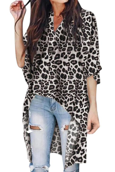 Lorna Women V Neck Leopard Print Casual Loose High Low Blouse Gray