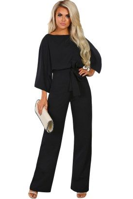 Maia Women's O-Neck 3/4 Sleeves Tie Sash Wide-Leg Jumpsuit Black