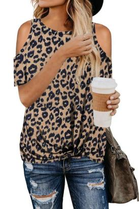 Kelton Women's Leopard Print Short Sleeves Cold Shoulder Top White