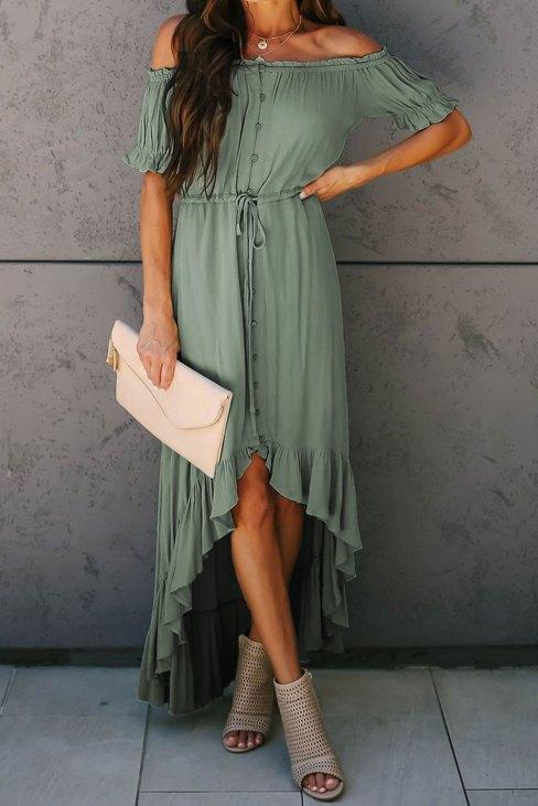Vittoria Women's Glaze High Low Off Shoulder Maxi Dress White