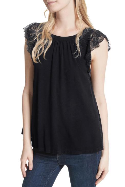 Tori Women V-Neck Sleeveless Lace Crochet Reversible Tank Top White