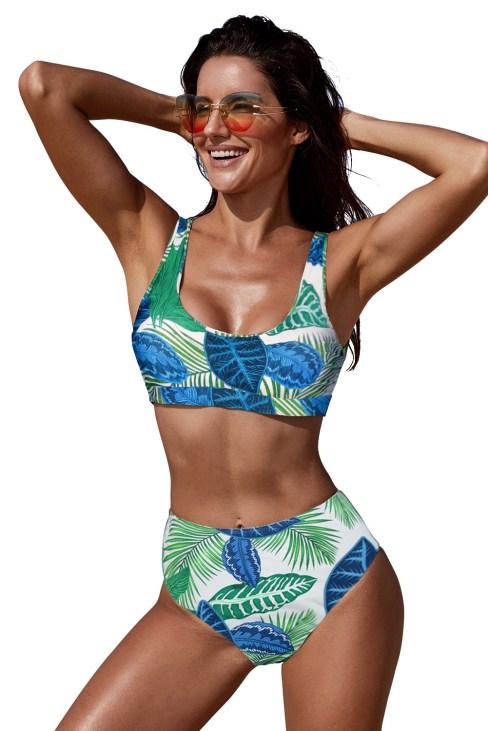 Suzy Women's Two Pieces U-neckline High Waist Bikini Swimsuit Set White